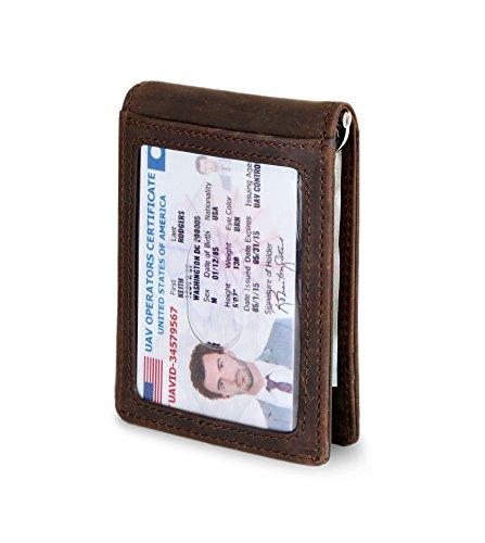 Men Blocking Genuine Leather Slim ID Credit Card Holder Money Clip Bifold Wallet